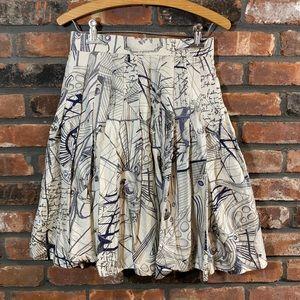 Laurel Escada Silk Pleated Nautical A-line Skirt